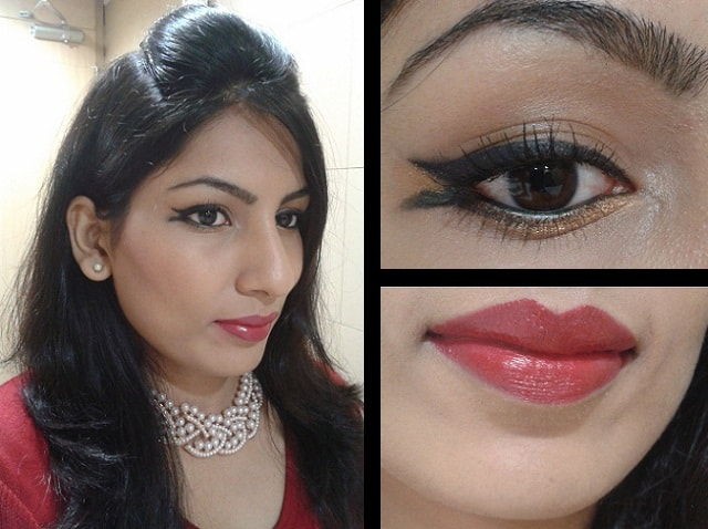 Valentine Day Makeup Look - Winged Liner and Red Lips