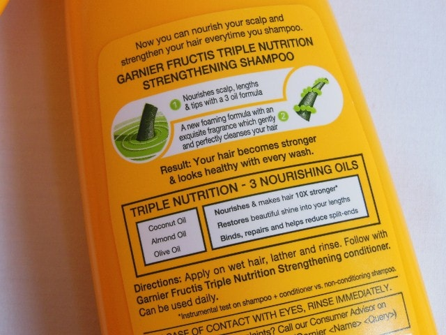 Garnier Fructis Triple Nutrition Strengthening Shampoo Claims