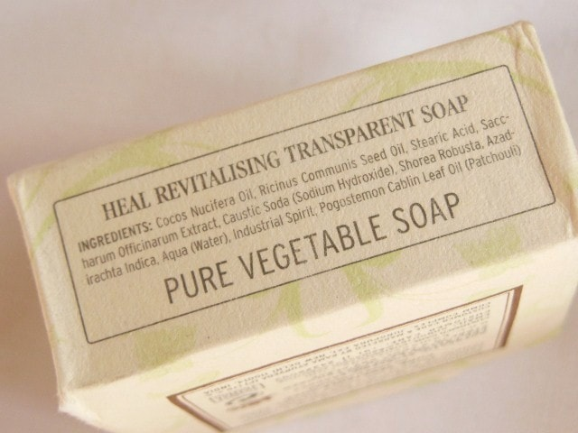 Kama Ayurveda Heal Revitalizing Transparent Soap Ingredients
