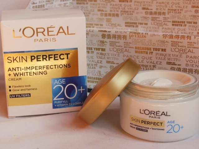 L'Oreal Skin Perfect Anti Imperfections and whitening cream Packaging