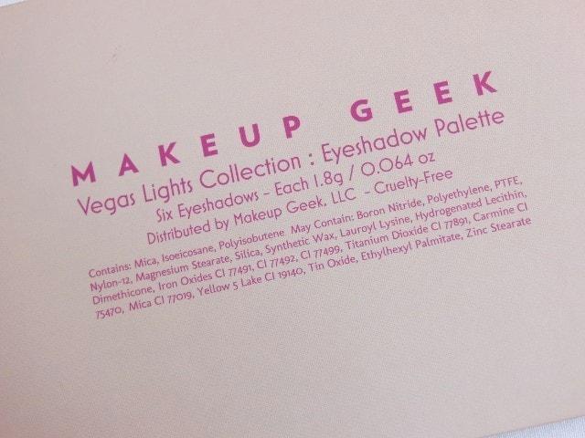 Makeup Geek Vegas Lights Eye Shadow Palette Ingredients