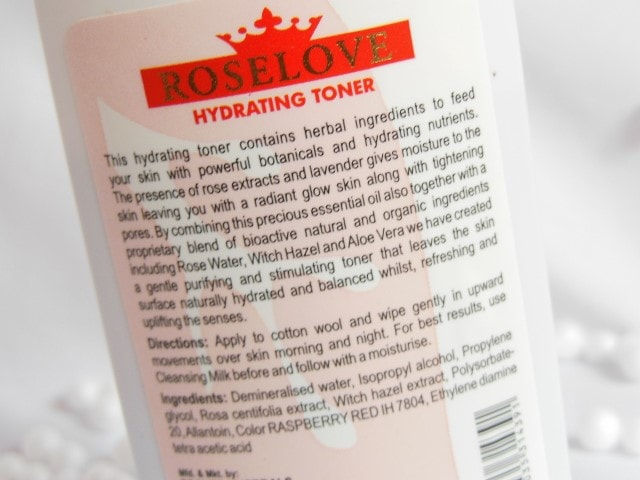 TBC by Nature Roselove Hydrating Toner Ingredients