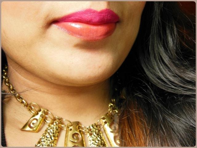 Maybelline Color Show Lipstick Fuchsia Flare and Orange Icon Lip Swatch
