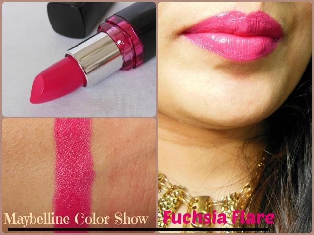 Maybelline Color Show Lipstick Fushca Flare LOTD
