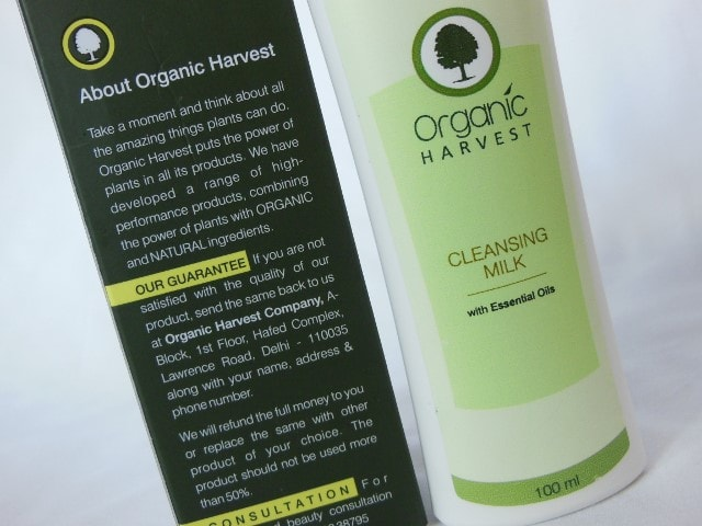 Organic Harvest Cleansing Milk Claims
