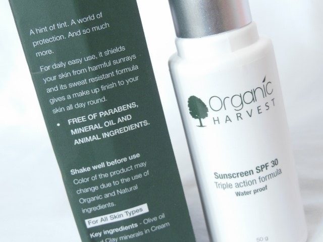 Organic Harvest Sunscreen SPF 30 Claims