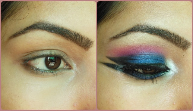 Blue Marina Eye Makeup Before and After