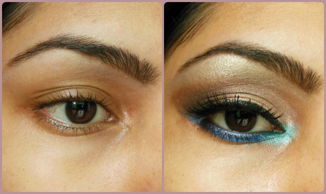 Eye Makeup Tutorial - Pop Of Blue Before and After