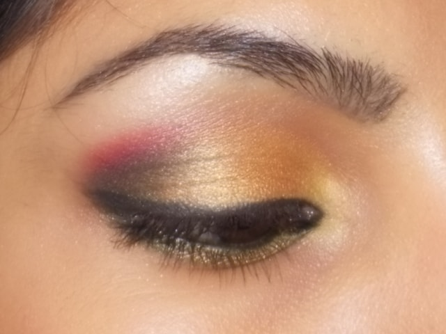 Gold and Pink Party Wear Eye Makeup