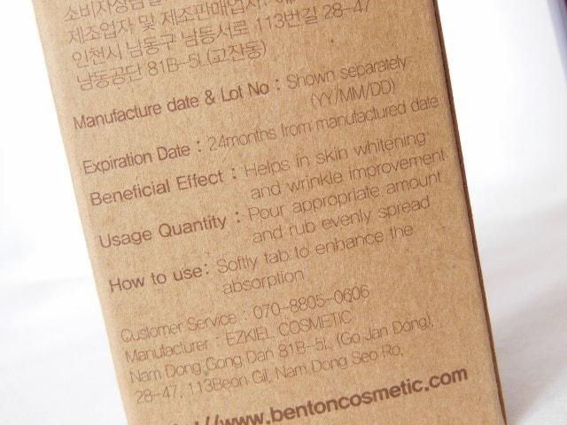 Benton Snail Bee High Content Lotion Details