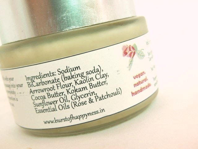 Burst Of Happyness Rose Crush Deodrant Cream Ingredients