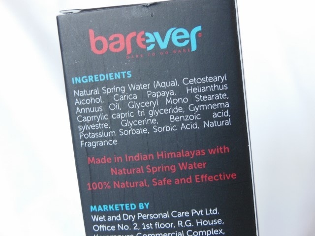 Barever Natural Hair Inhibitor Ingredients