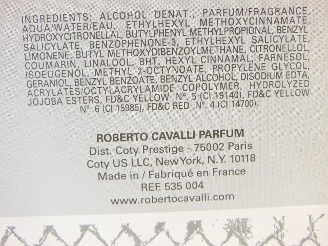 Robert Cavalli Paradiso EDP Ingredients