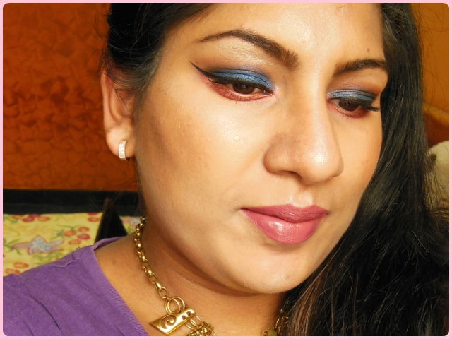 Blue and Pink eyes Makeup Look