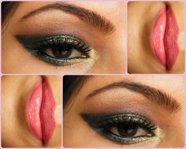 Glittery Black Smokey Eyes and Pink Lips