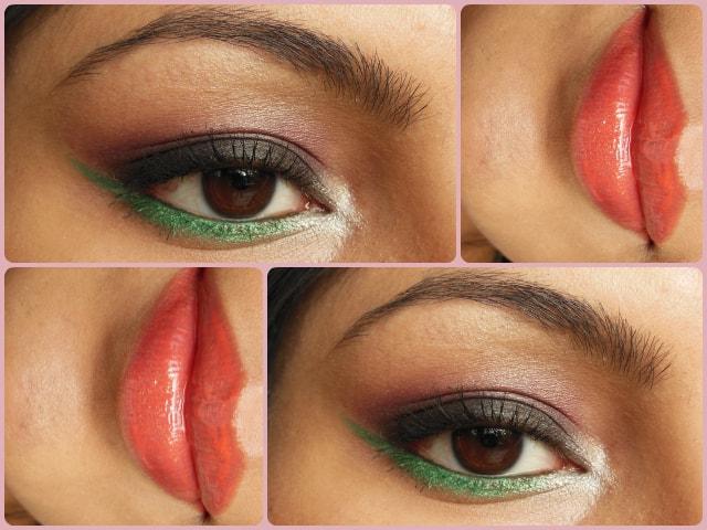 Green and Orange Makeup Look