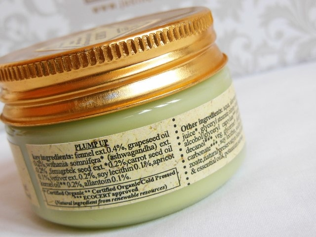 Just Herbs Plump Up Age Defying Anti-wrinkle Gel Ingredients