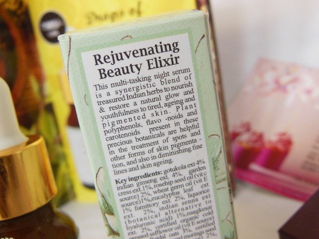 Just Herbs Rejuvenating Beauty Elixir Facial Serum Claims