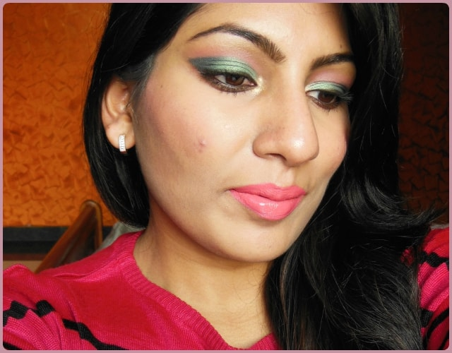 Metallic Green Eyes and Pink Lips