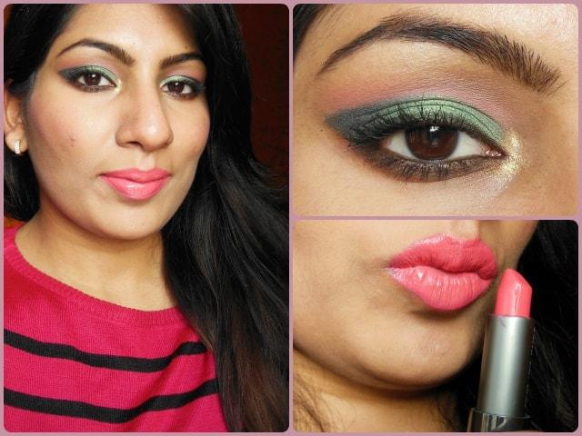 Metallic Green Eyes with Pink Lips Look