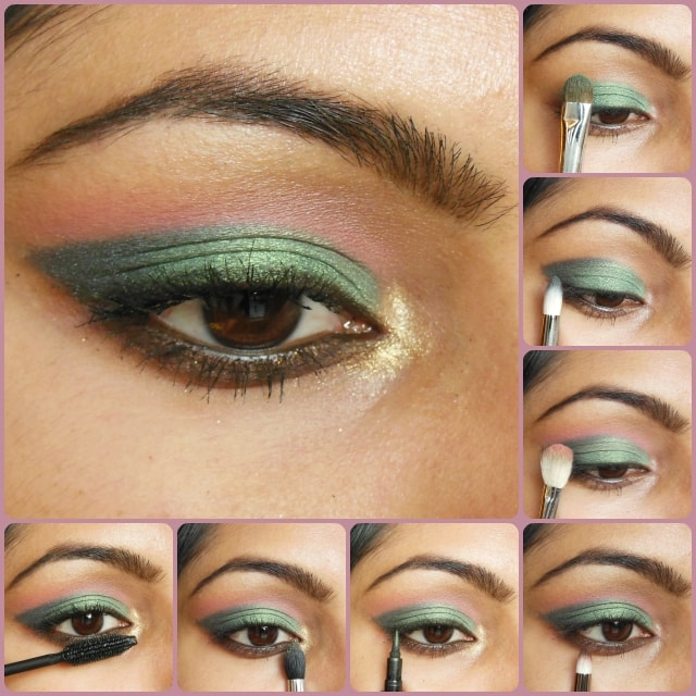 Metallic Green and Pink Eye Makeup look