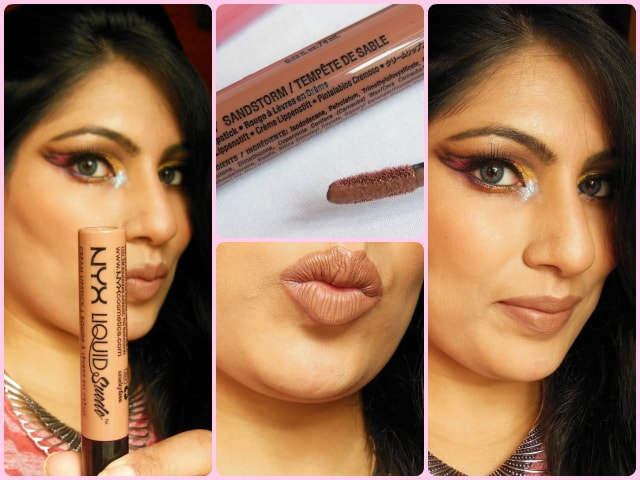 NYX Liquid Suede Cream Lipstick Sandstorm FOTD