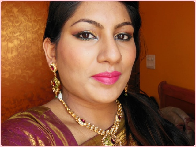 Indian Engagement Makeup with Golden Eyes and Pink Lips