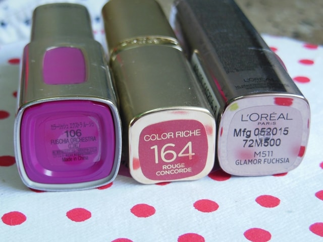 L'Oreal Color Riche Lipsticks in Pinks and Reds
