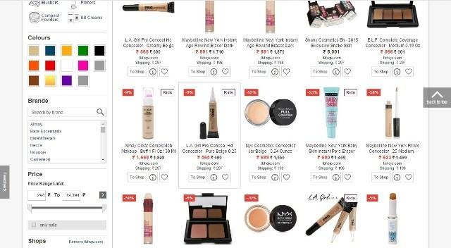 ShopAlike Makeup section