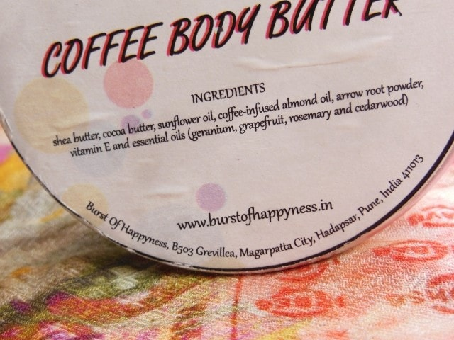 Burst Of Happiness Coffee Body Butter Ingredients