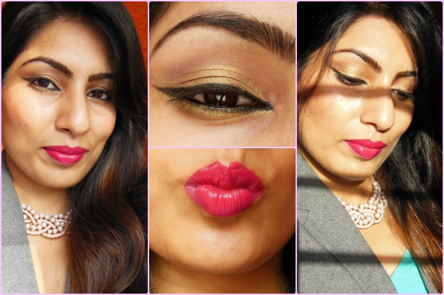 Golden Eyes and Pink Lips Look