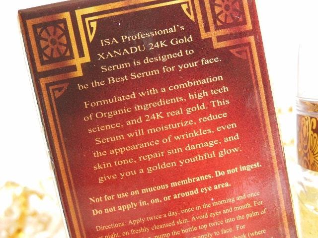 ISA XANADU Gold Serum Claims