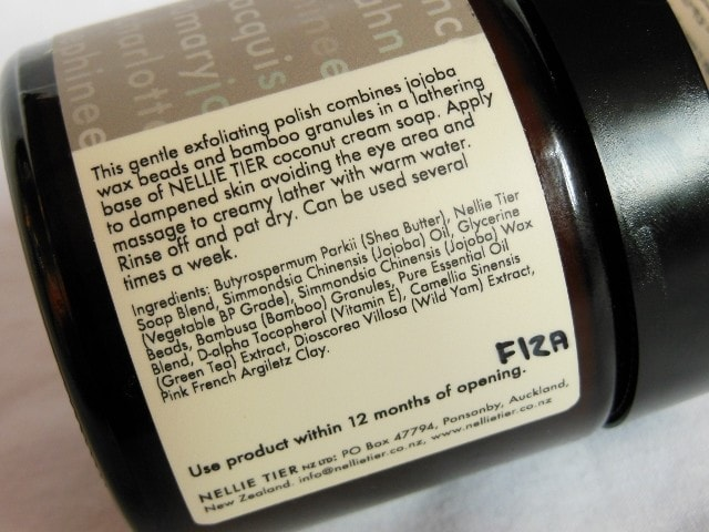 Nellie Tier face Polish Ingredients