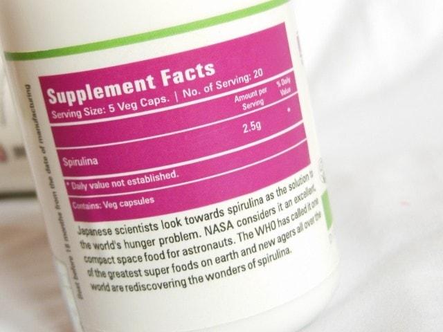 Zenith Nutrition 5-Spirulina Capsules Ingredients