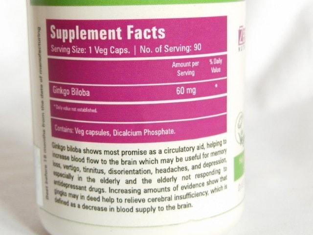 Zenith Nutrition Ginkgo Biloba Capsules Ingredients