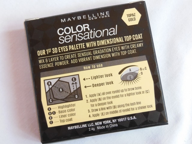 Maybelline Color Sensational Eye Shadow Palette Topaz Gold Claims