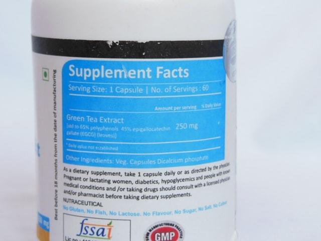 Vista Nutrition Green Tea Extract Ingredients