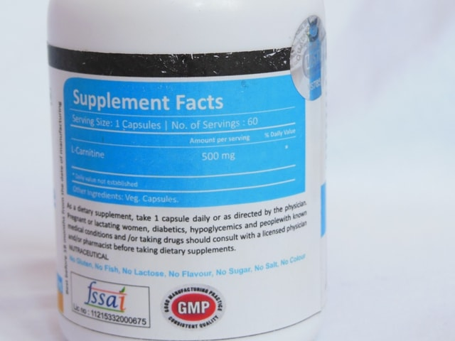 Vista Nutrition L-Carnitine Ingredients