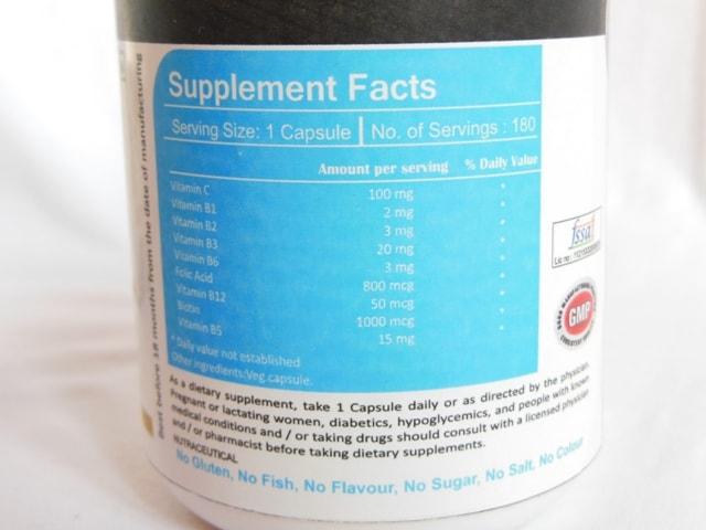 Vista Nutrition Vitamin B Complex Supplement Capsules Ingredients