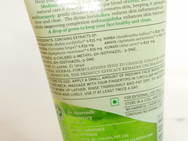 Medimix Ayurvedic Face Wash Ingredients