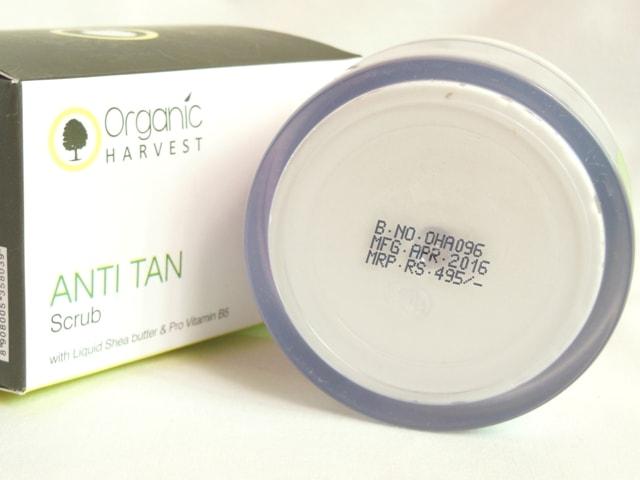 Organic Harvest Anti Tan Scrub Price