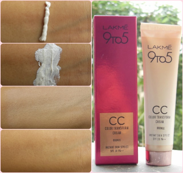 Lakme 9 to 5 Color Transform CC Cream Swatches