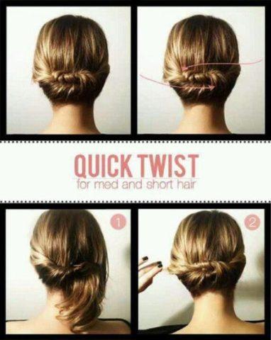 15 Best Hairstyles For Short Hair - Quick Twist Bun
