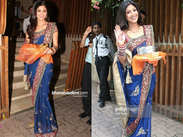 bollywood-celebrities-karwa-chauth-outfit-shilpa-shetty-blue-saree-2