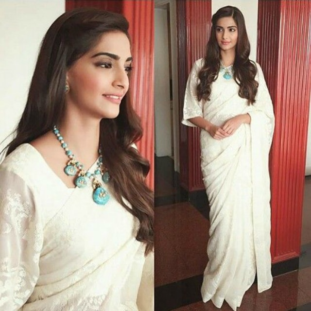 best-ethnic-looks-of-sonam-kapoor-sonam-kapoor-in-white-embroided-saree