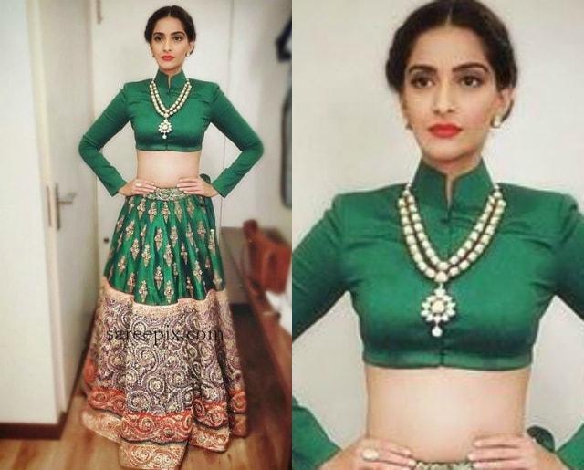 best-ethnic-looks-of-sonam-kapoor-in-green-lehenga