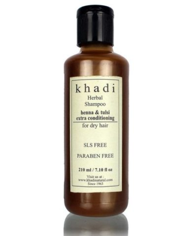 best-sulfate-free-shampoos-in-india-khadi-henna-and-tulsi-extra-conditioning-herbal-shampoo